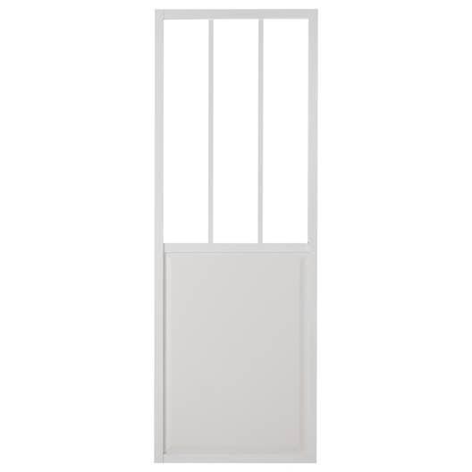 Porte coulissante aluminium blanc atelier verre clair artens x cm leroy merlin - Kit porte coulissante lapeyre ...