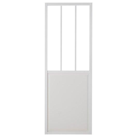 Porte coulissante aluminium blanc atelier verre clair - Porte coulissante 73 cm castorama ...