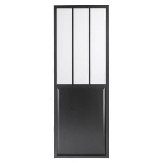 porte coulissante aluminium noir atelier verre clair artens x cm leroy merlin. Black Bedroom Furniture Sets. Home Design Ideas