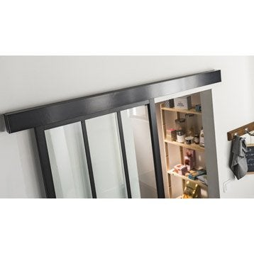 Rail coulissant habillage Swing 2 cache laqué noir ARTENS, porte larg 93cm max