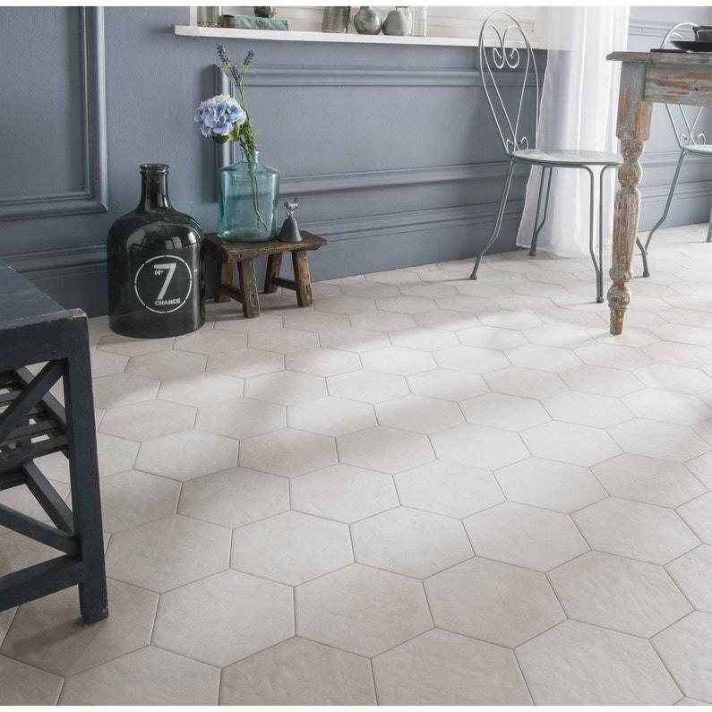 Carrelage Sol Et Mur Blanc Casse Effet Beton Time L 21 X L 18 Cm