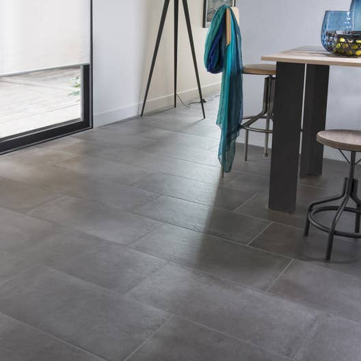 Carrelage sol et mur anthracite effet b ton time x l for Carrelage rectangle