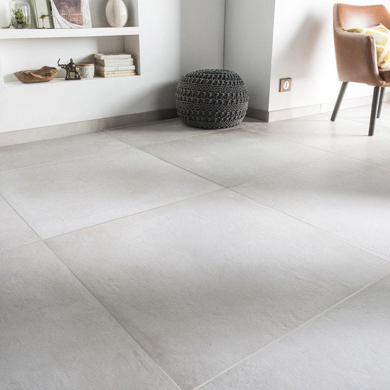 Carrelage Sol Et Mur Blanc Cassé Effet Béton Time L75 X L75 Cm