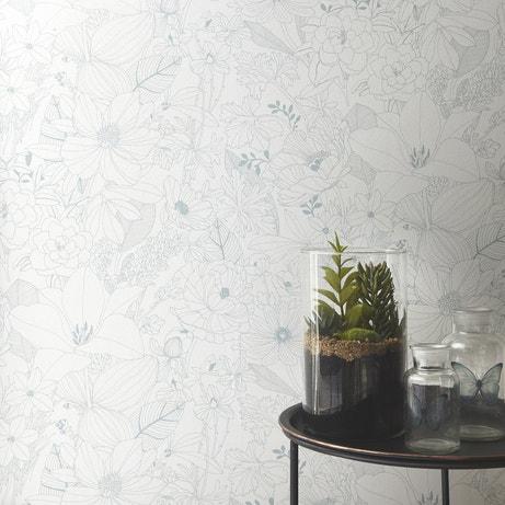 Papier peint noir et blanc au motif floral