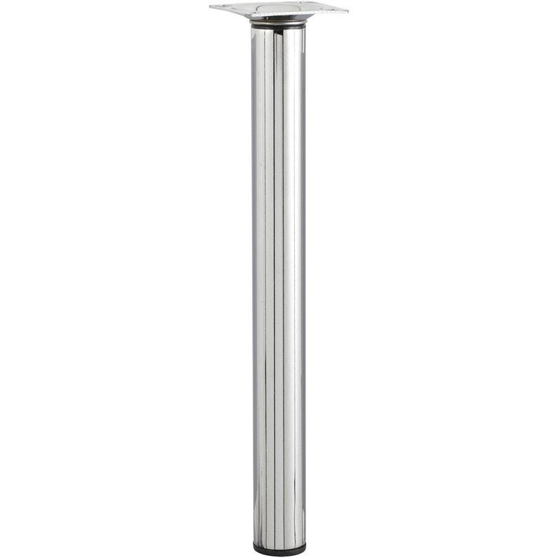 Pied De Meuble Cylindrique Reglable Metal Chrome Gris De 30 A 50 Cm
