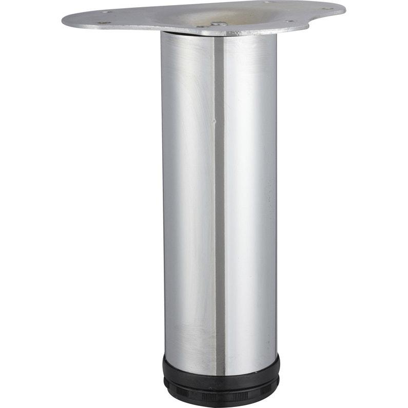 Pied De Table Basse Cylindrique Réglable Acier Chromé Gris De 20 à 23 Cm