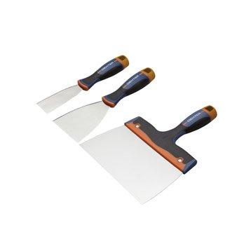 Lot de 3 couteaux à enduire acier inoxydable