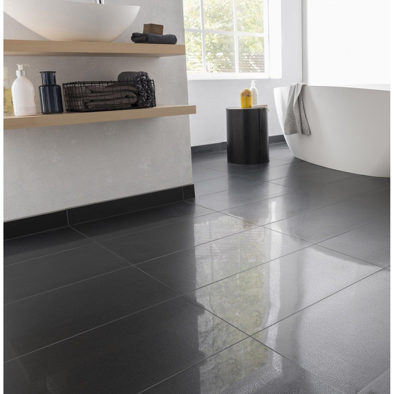 Carrelage sol et mur noir effet uni Piano l.30 x L.60 cm