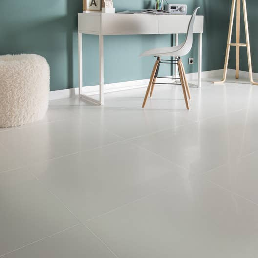 carrelage sol et mur blanc effet uni piano x cm leroy merlin. Black Bedroom Furniture Sets. Home Design Ideas