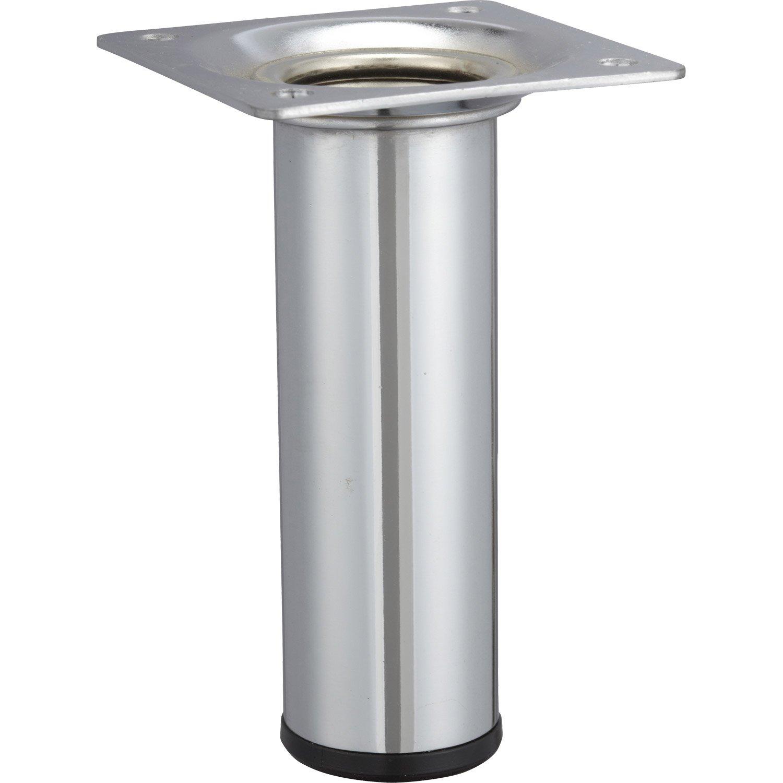 pied de meuble bas pied de meuble cylindrique fixe acier chrom gris 10 cm
