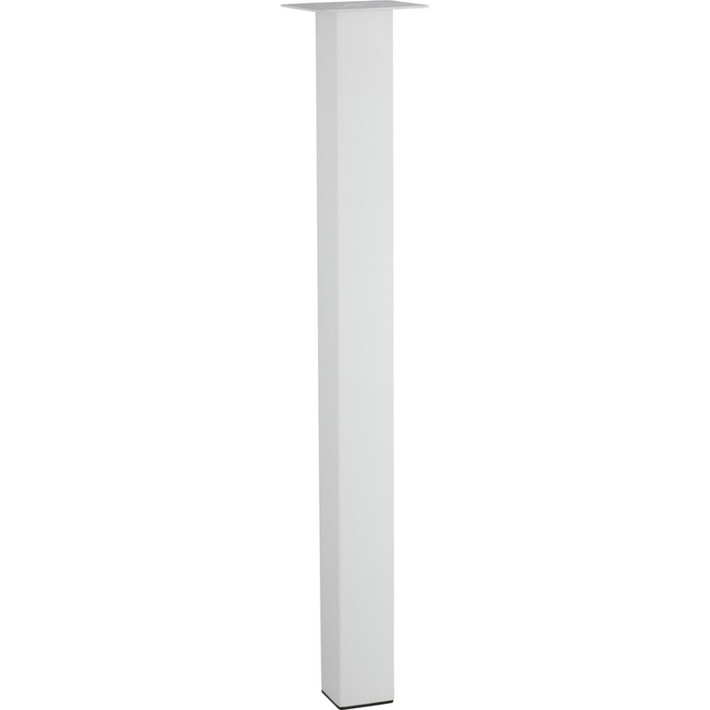 Pied De Table Carre.Pied De Table Carre Reglable Acier Epoxy Blanc De 70 A 73 Cm