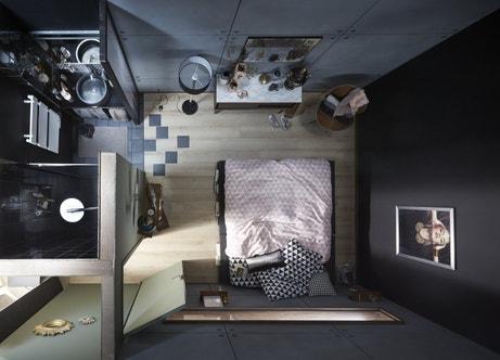 une petite salle de bains dans la chambre leroy merlin. Black Bedroom Furniture Sets. Home Design Ideas