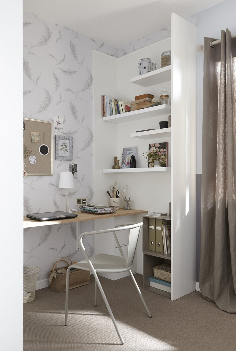 un coin bureau pratique et fonctionnel leroy merlin. Black Bedroom Furniture Sets. Home Design Ideas