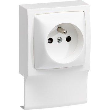 Adaptateur blanc pour moulure, H. 10.2 x P.4.3 cm