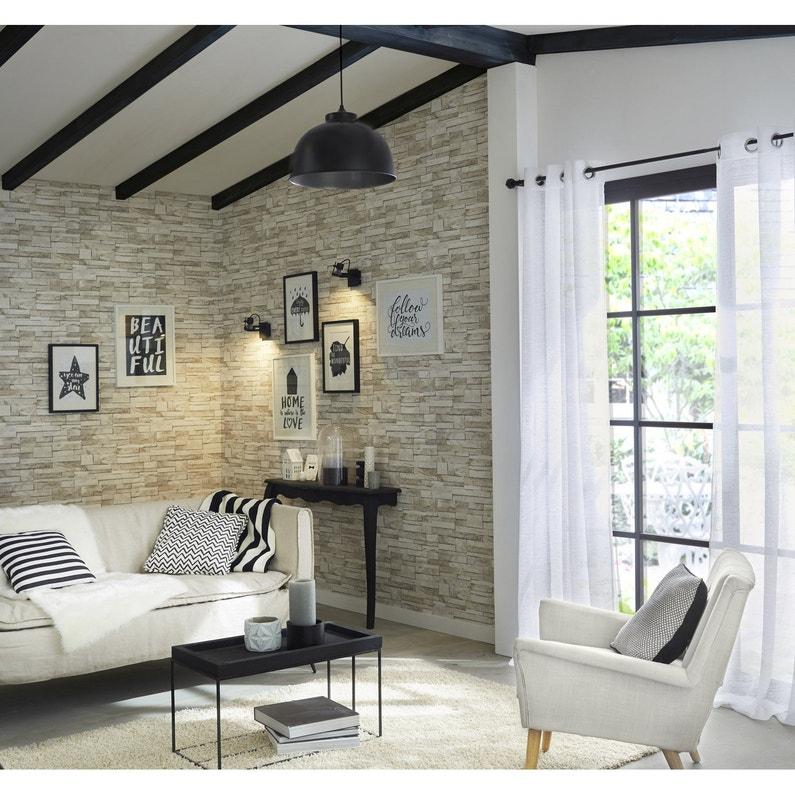 Papier peint intissé Brique marbre blanc | Leroy Merlin
