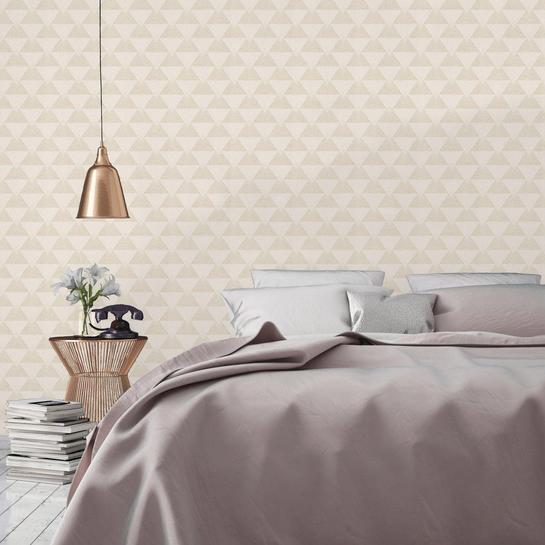 Papier peint intissé Art deco pailleté beige