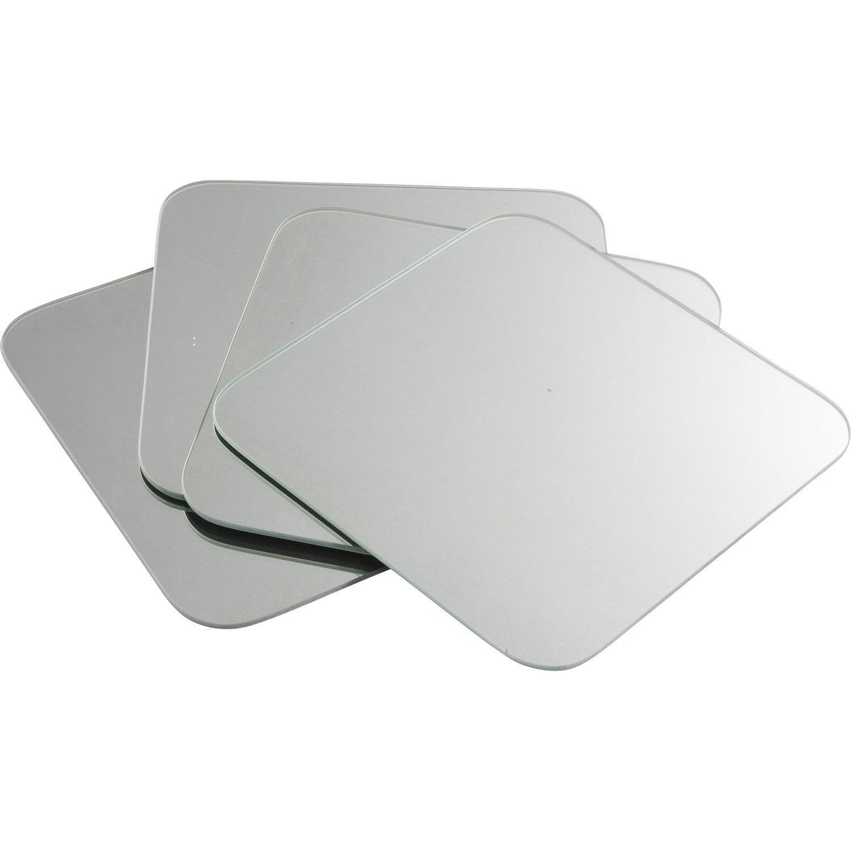Lot de 4 miroirs non lumineux adh sifs carr s avec coins for Carre de miroir a coller