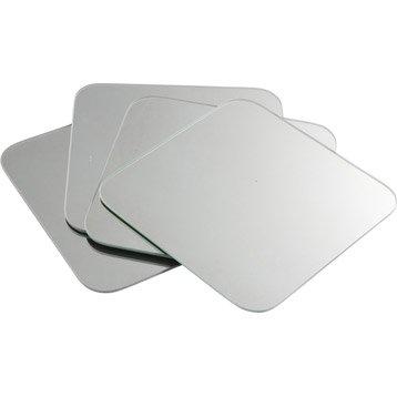 Lot de 4 miroirs non lumineux adhésifs carrés avec coins arrondis l.20 x L.20 cm