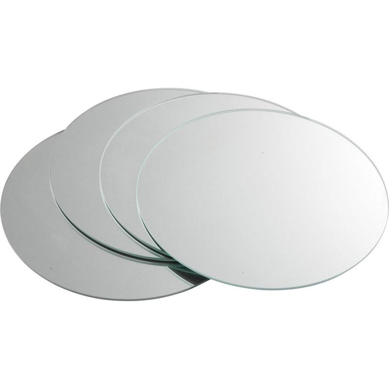 Lot de 4 miroirs non lumineux adhésifs ronds l.20 x L.20 cm