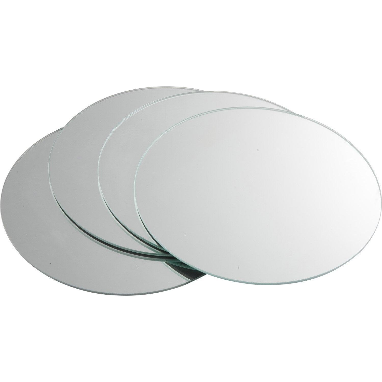 De Haute Qualite Lot De 4 Miroirs Non Lumineux Adhésifs Ronds L.20 X L.20 Cm