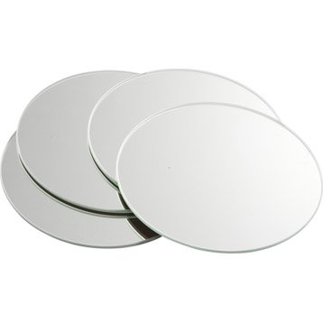 Lot de 4 miroirs non lumineux adhésifs ronds l.15 x L.15 cm