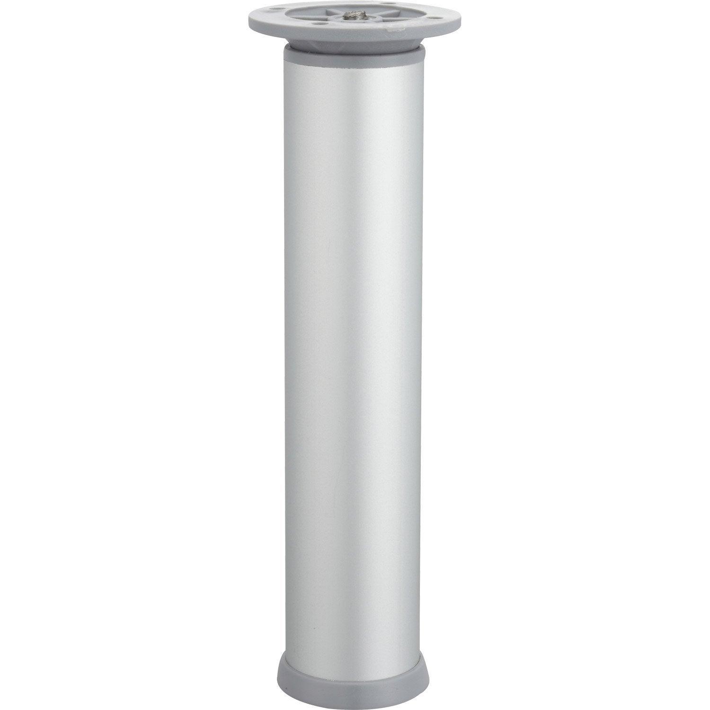 Pied De Meuble Cylindrique Réglable Acier Mat Gris, De 20 à 23 Cm Bonnes Idees