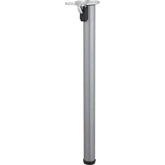 Pied de table cylindrique rabattable acier poxy gris 71 cm leroy merlin - Plan de travail mural rabattable ...