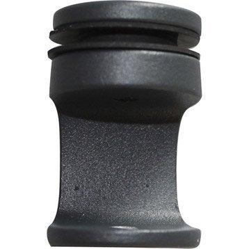 Lot de 6 fixations pour garde-corps TIERAL aluminium gris H.4.5 x l.2.7 cm