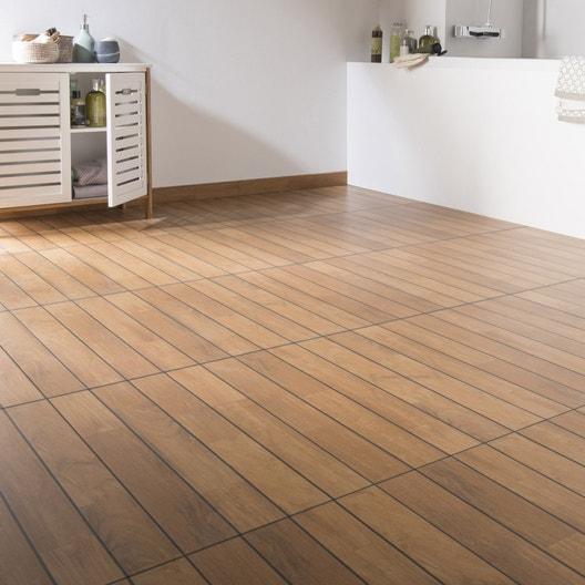 carrelage sol et mur teak effet bois caravelle x cm leroy merlin. Black Bedroom Furniture Sets. Home Design Ideas
