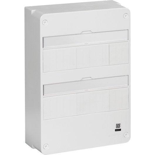 tableau lectrique nu schneider electric 2 rang es 26 modules leroy merlin. Black Bedroom Furniture Sets. Home Design Ideas