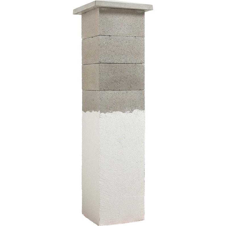 Elément De Pilier Classique Pilier Beton à Enduire Gris H20 X L27 X P26 Cm