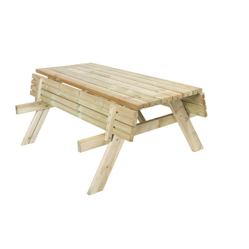 Table de jardin Forestière rectangulaire naturel 6 personnes