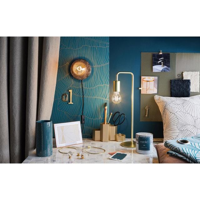 Papier Peint Avec Feuilles De Palmes En Bleu Canard Leroy Merlin