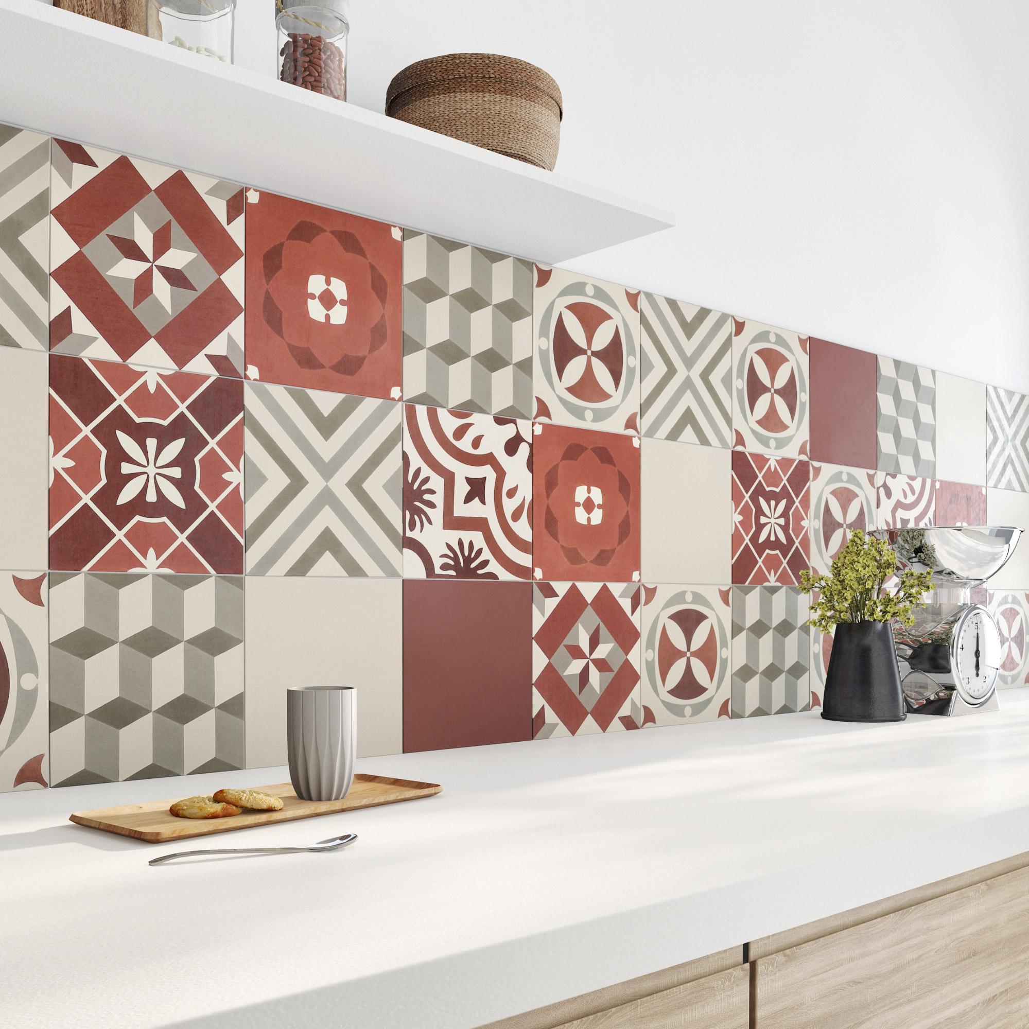 Carreau de ciment mur rouge mat l.20 x L.20 cm, Belle epoque lisa