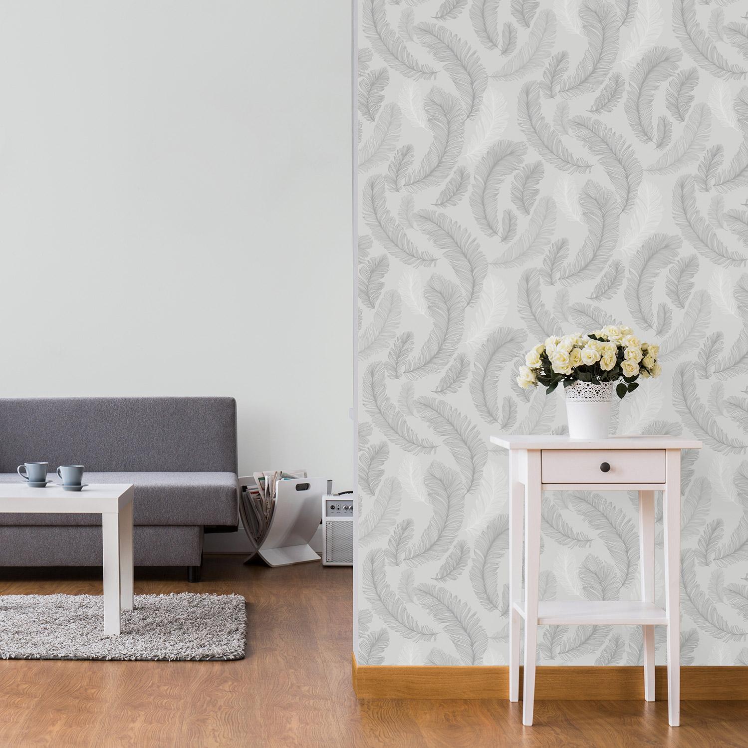 Papier peint vinyle sur intissé Plume paillette gris