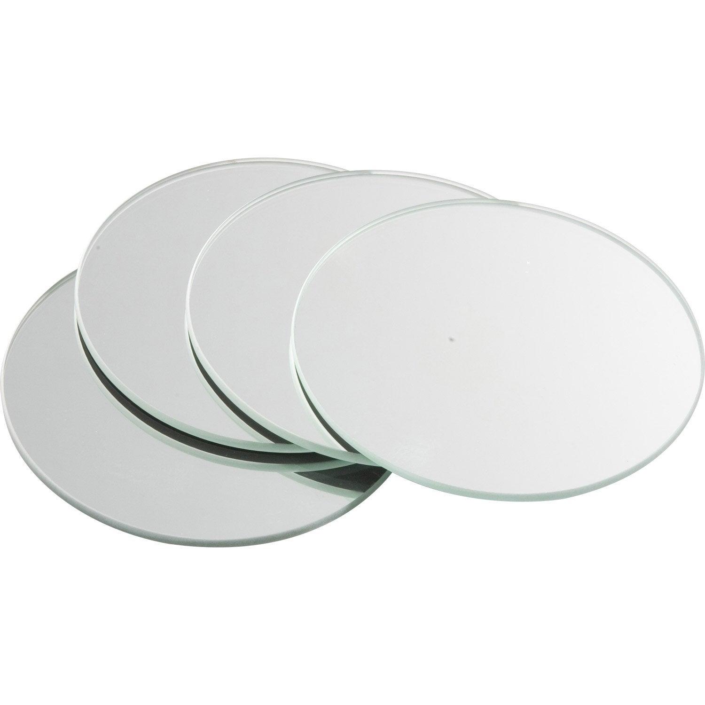 Lot de 4 miroirs non lumineux adhésifs ronds l.10 x L.10 cm | Leroy ...