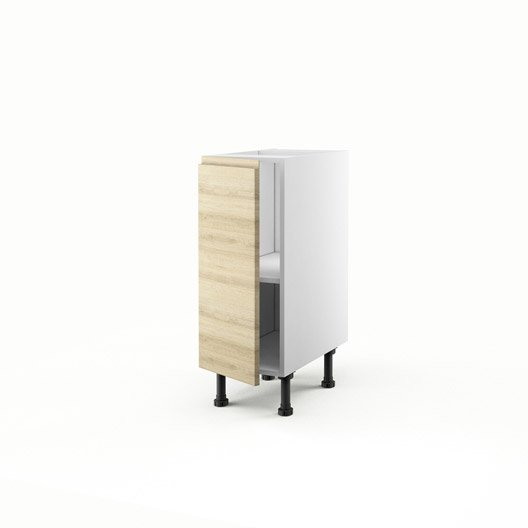 Meuble de cuisine bas d cor ch ne blanchi 1 porte graphic for Meuble 70x30