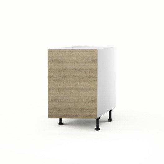 Meuble de cuisine bas d cor ch ne blanchi 1 porte graphic for Meuble cuisine 50 x 70