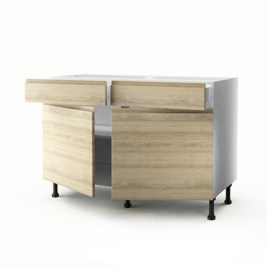 meuble de cuisine bas dcor chne 2 portes2 tiroirs graphic h70xl