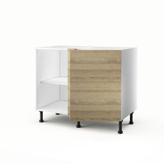 meuble de cuisine bas d'angle décor chêne 1 porte graphic h.70 x l ... - Meuble Angle Bas Cuisine