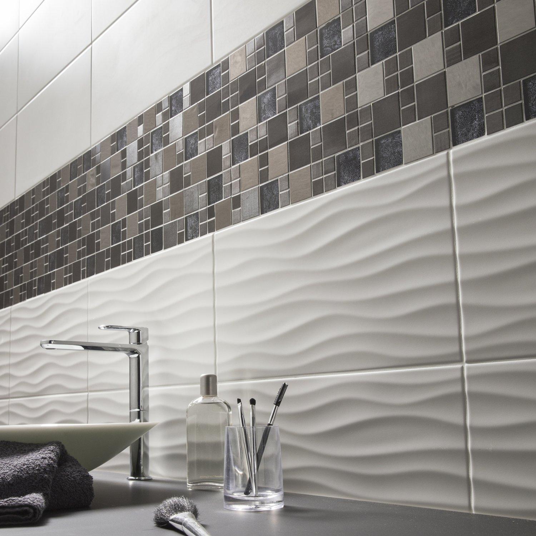 Mur de mosaïque et carrelage relief blanc gris noir marron ...