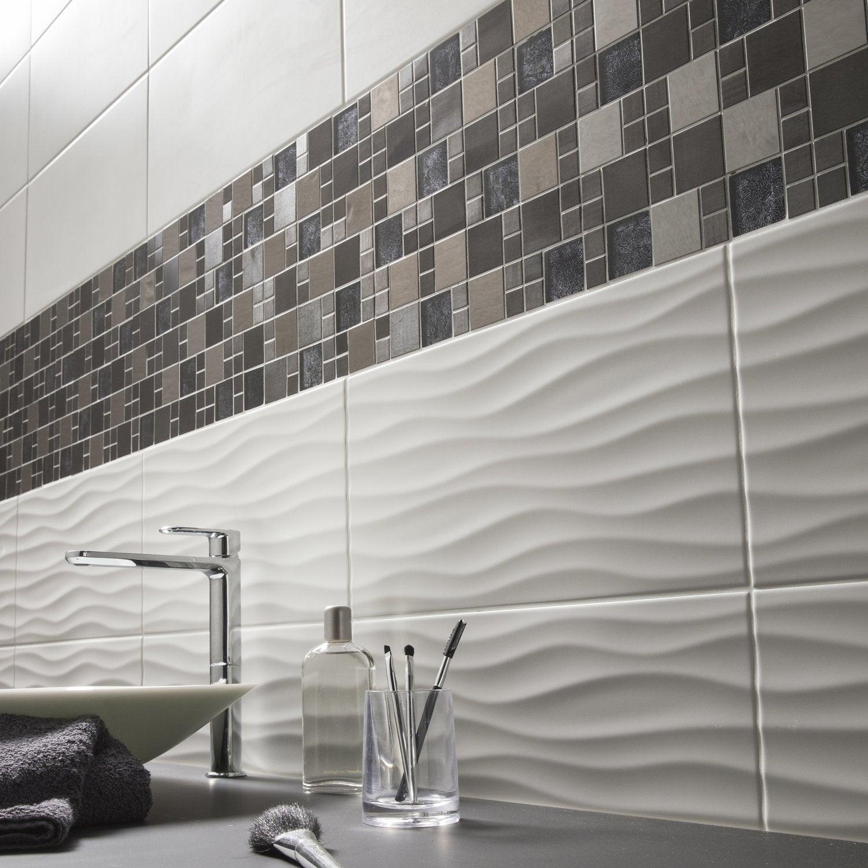 Mur De Mosaïque Et Carrelage Relief Blanc Gris Noir Marron Pour Salle De  Bain
