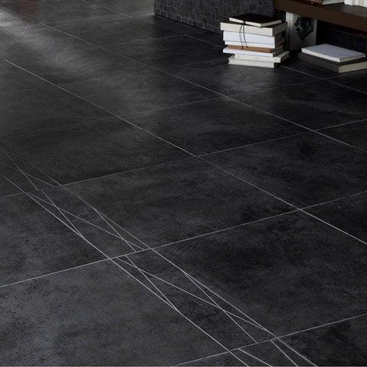 Carrelage sol et mur noir effet béton Factory l.45 x L.45 cm ...
