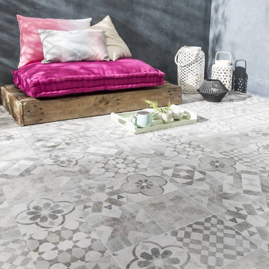 carrelage sol gris blanc effet terre cuite villa x l. Black Bedroom Furniture Sets. Home Design Ideas