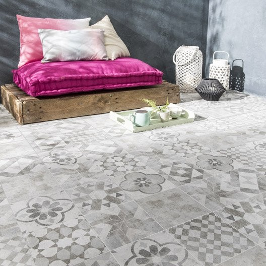 Carrelage sol gris blanc effet terre cuite Villa l.20 x L.20 cm