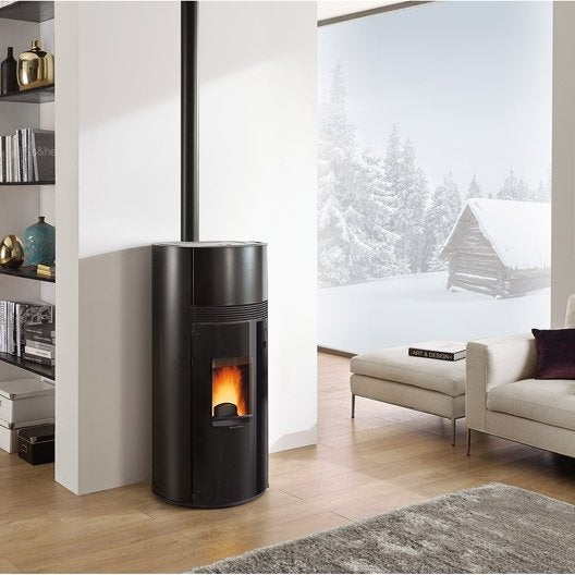 po le granul s extraflame doroty noir 9 kw leroy merlin. Black Bedroom Furniture Sets. Home Design Ideas