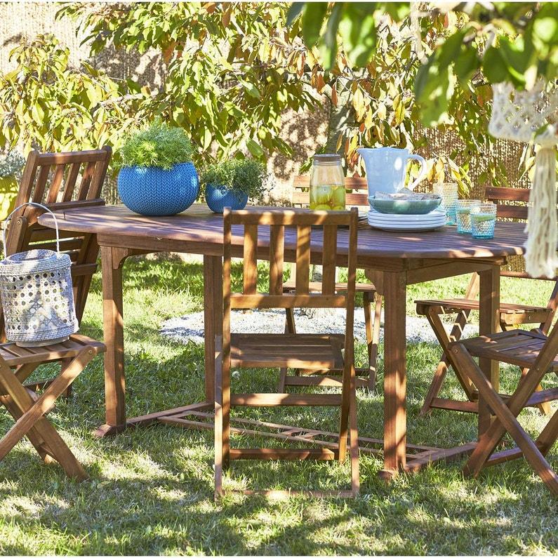 Table de jardin NATERIAL Porto octogonale brun 6 personnes   Leroy ...