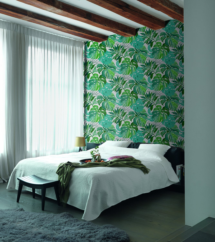 Un papier peint jungle qui remplace la tête de lit  Leroy Merlin