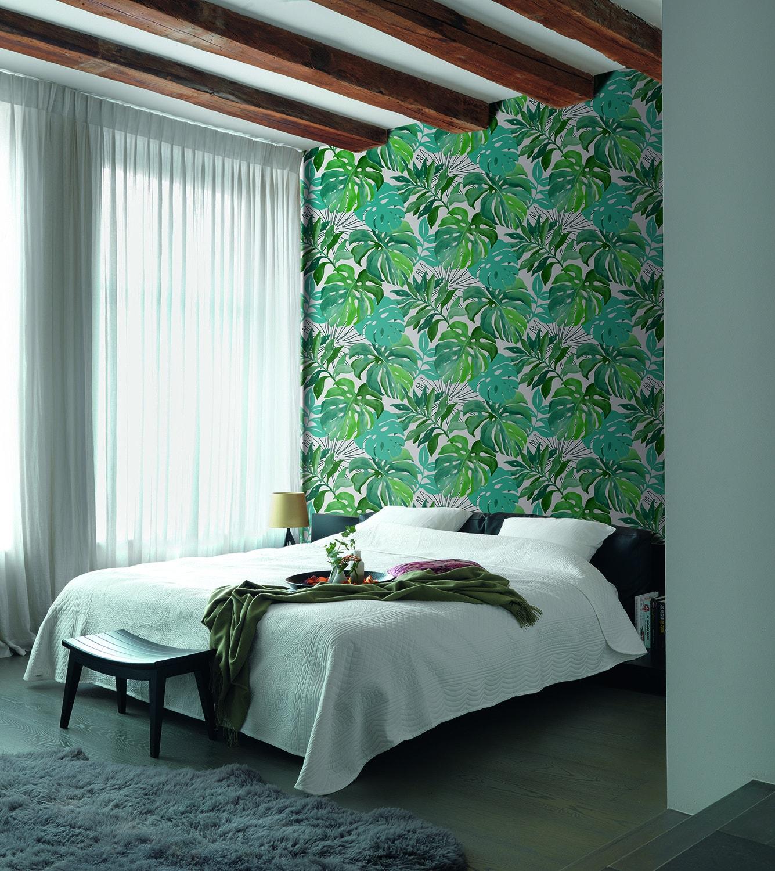 Deco Jungle Chambre Adulte un papier peint jungle qui remplace la t�te de lit | leroy
