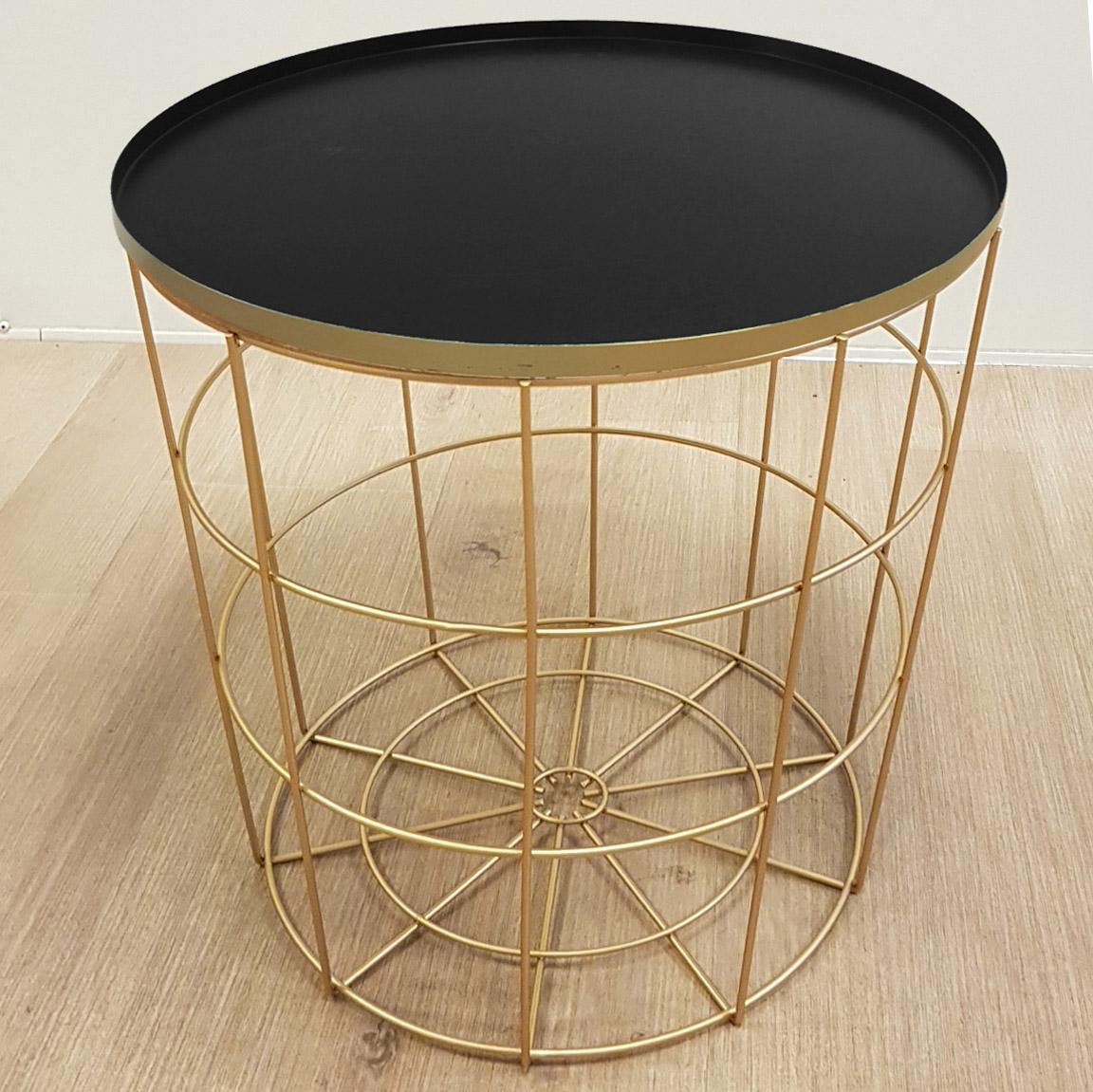 Table d'appoint Taylor, noir et doré l.40 x H.40 cm